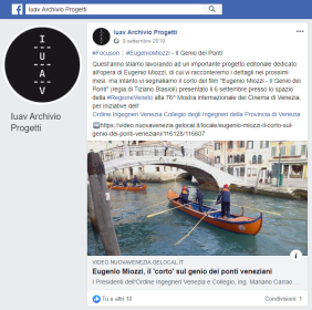 02 IUAV Archivio Progetti - Post Facebook 9.9.2019 ing. Eugenio Miozzi film mostra del cinema - Ordine INgegneri Venezia