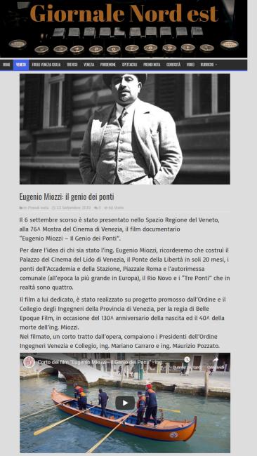 04 08.10.2019 - GNE Giornale Nord Est - ing. Eugenio Miozzi film mostra del cinema - Ordine INgegneri Venezia
