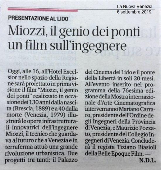 LA NUOVA VENEZIA 6.9.2019 ing. Eugenio Miozzi film mostra del cinema - Ordine INgegneri Venezia