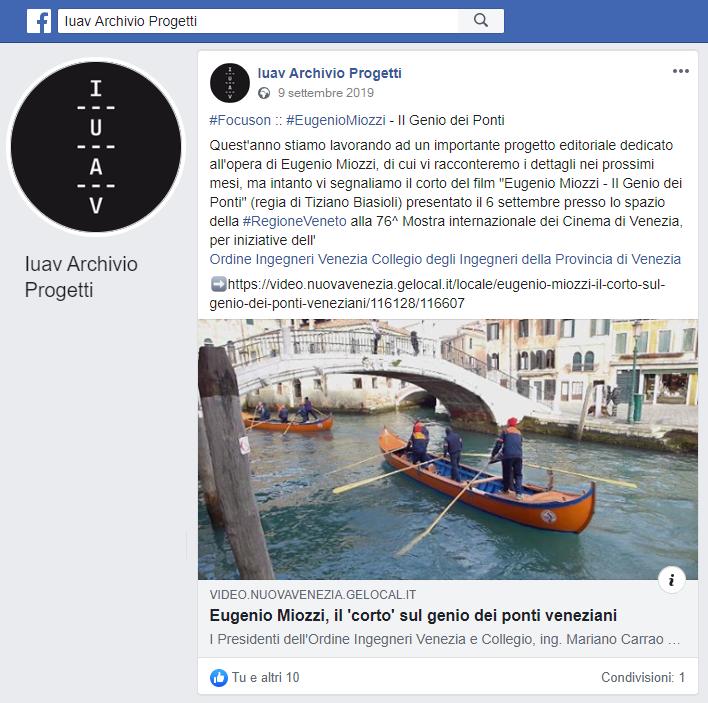 014 09.09.2019 IUAV Archivio Progetti - Post Facebook  ing. Eugenio Miozzi film mostra del cinema - Ordine INgegneri Venezia.png