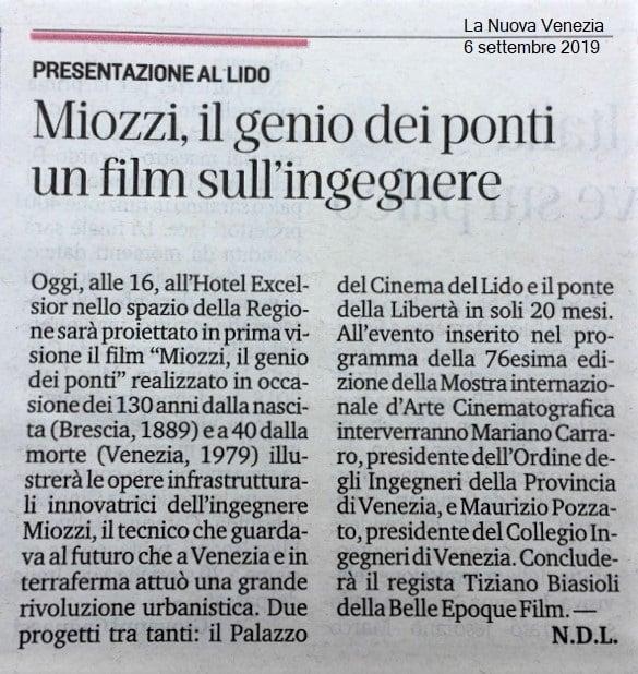 016 06.09.2019 LA NUOVA VENEZIA ing. Eugenio Miozzi film mostra del cinema - Ordine INgegneri Venezia.jpg