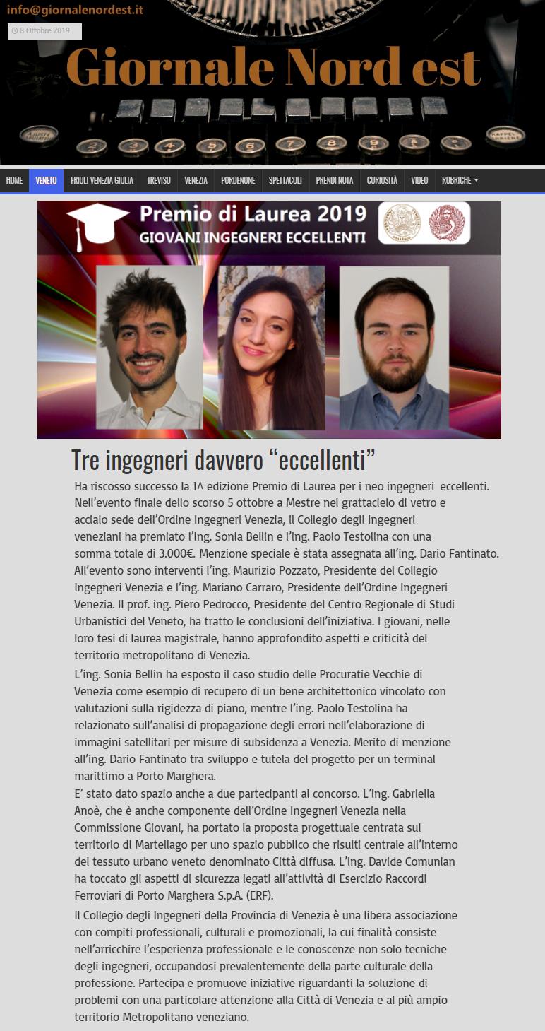 05 08.10.2019 - GNE Giornale Nord Est - Premio di Laurea 2019 Collegio e Ordine Ingegneri Venezia.png