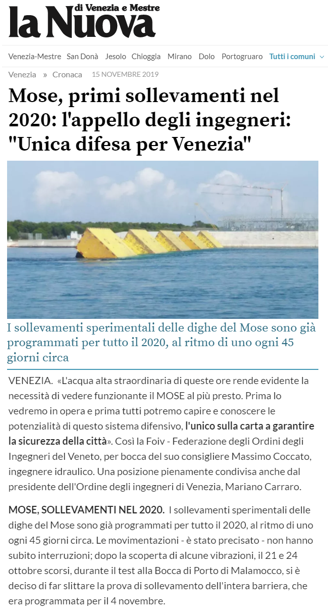 15.11.2019 La Nuova Venezia - MOSE - Acqua Alta FOIV Ordone Ingegneri Venezia.png