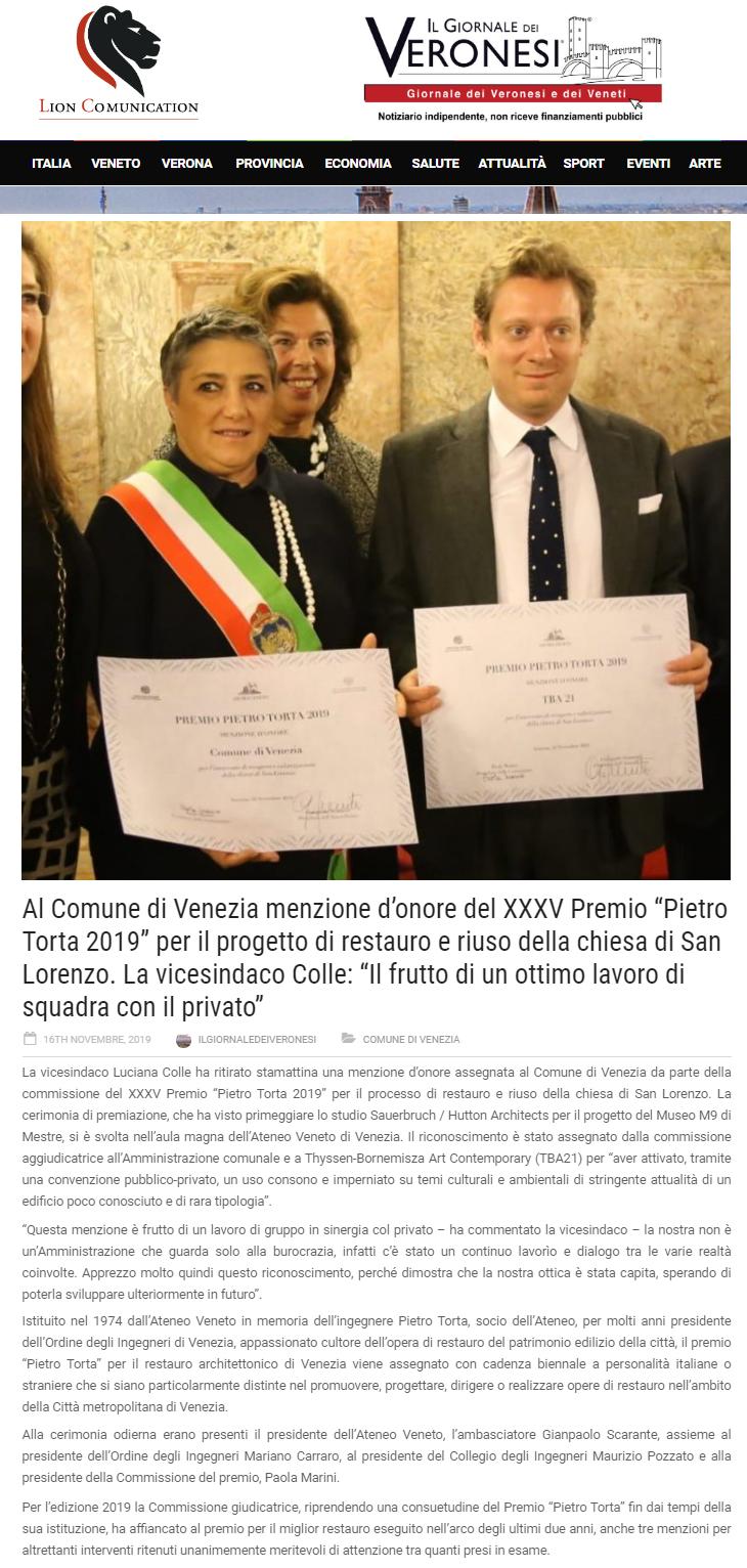 16.11.2019 IL GIORNALE DEI VERONESI Premio Torta per il restauro ORDINE INGEGNERI CITTà DI VENEZIA.png