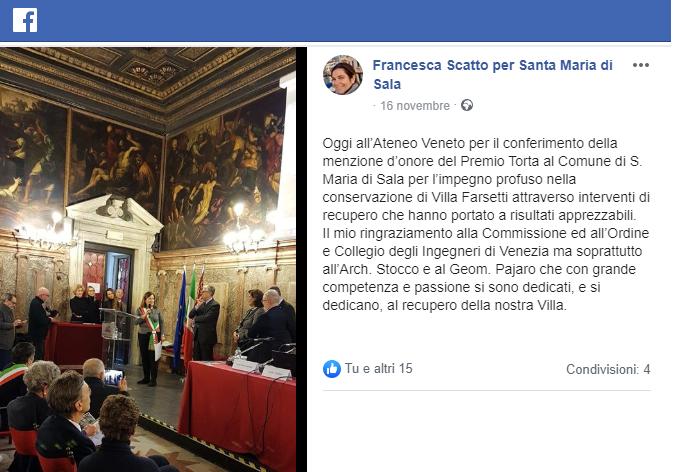 16.11.2019 santa maria di sala assessore francesca scatto - Premio Torta per il restauro Facebook.png