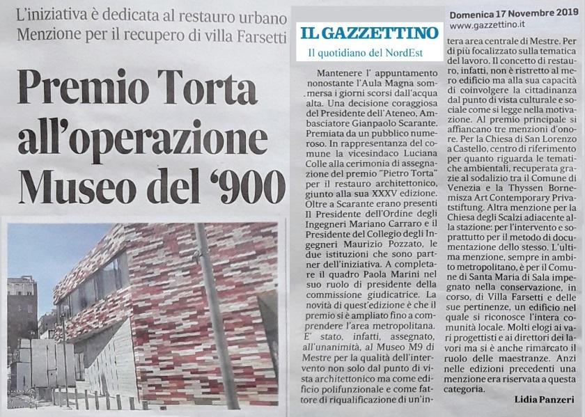 17.11.2019 IL GAZZETTINO Premio Torta per il restauro M9 Ordine Ingegneri Collegio Ingegneri Ateneo Veneto - OK.jpg