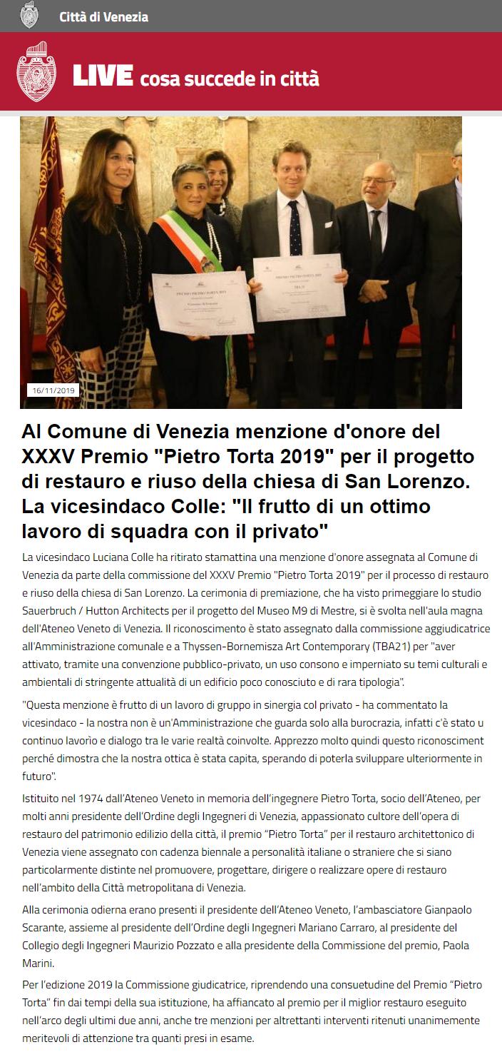 18.11.2019 Comune di Venezia - Premio Torta
