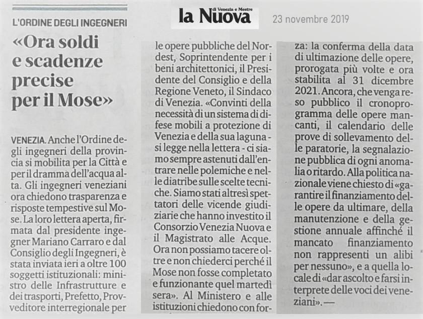 23.11.2019 La Nuova Venezia - Lettera aperta MOSE Ordine Ingegneri Venezia.jpg