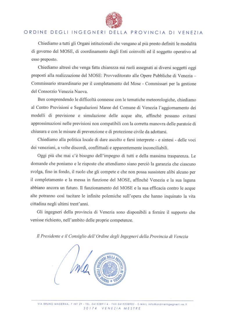 pag. 3 - Lettera aperta - Difesa dalle acque alte di Venezia - Ordine Ingegneri Venezia