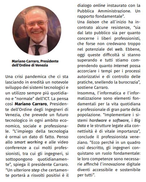 Ing. Mariano Carraro - Giornale dell'Ingegnere maggio 2020