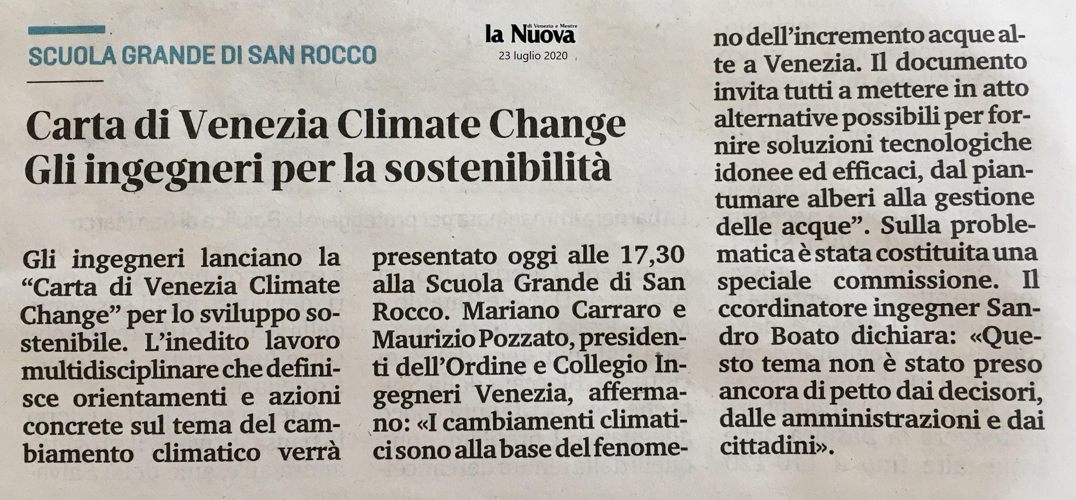 23.07.2020 La Nuova Venezia - Collegio e Ordine Ingegneri Venezia - Climate Change Scuola Grande San Rocco