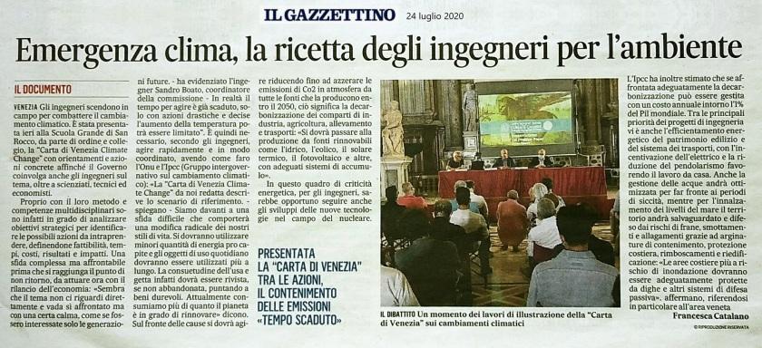24.07.2020 Gazzettino Collegio e Ordine Ingegneri Venezia - Climate Change Scuola Grande San Rocco