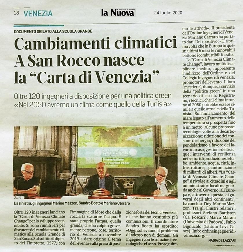24.07.2020 La Nuova Venezia Collegio e Ordine Ingegneri Venezia - Climate Change Scuola Grande San Rocco
