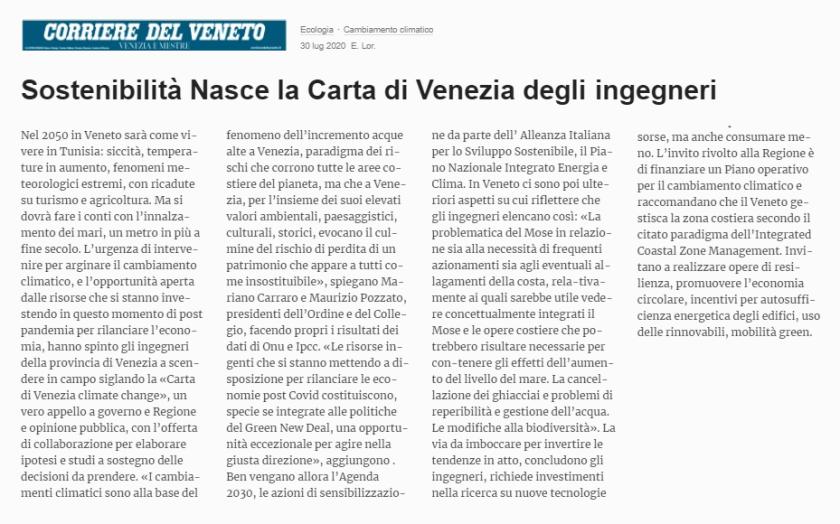30.07.2020 CORRIERE DEL VENETO - Carta di Venezia Climate Change - Ingegneri Venezia cambiamenti climatici
