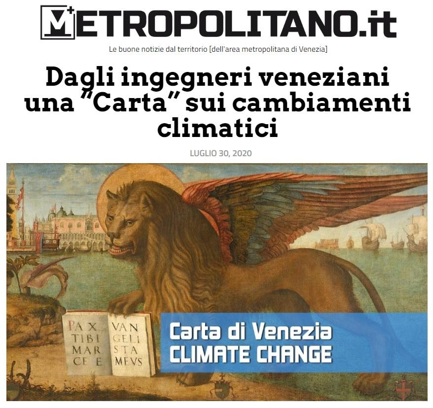 30.07.2020 METROPOLITANO- Carta di Venezia Climate Change - Ingegneri Venezia cambiamenti climatici
