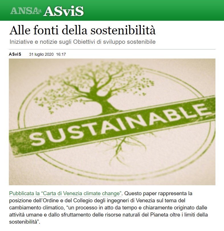 ANSA ASVIS 31 agosto 2020 - Carta di Venezia Climate Change - Ingegneri Venezia cambiamenti climatici
