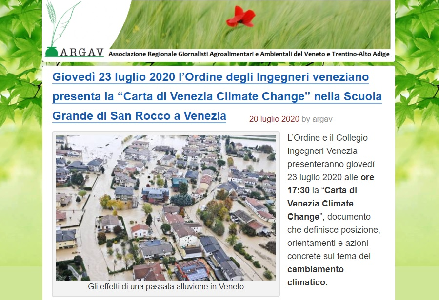ARGAV 2020 - Carta di Venezia Climate Change - Ingegneri Venezia cambiamenti climatici