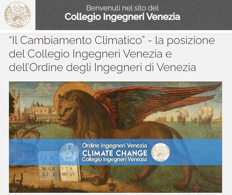 COLLEGIO INGEGNERI VENEZIA 2020 - Carta di Venezia Climate Change - Ingegneri Venezia cambiamenti climatici