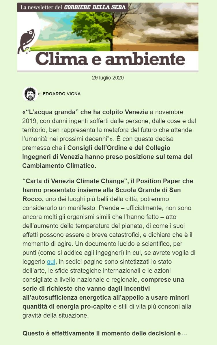 CORRIERE DELLA SERA Edoardo Vigna newsletter 29 luglio 2020 - Carta di Venezia Climate Change - Ingegneri Venezia cambiamenti climatici