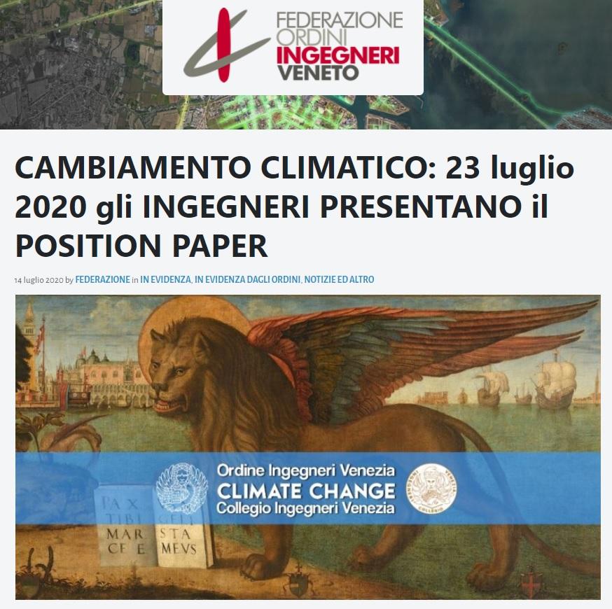 FOIV Federazione Ordini Ingegneri Veneto 2020 - Carta di Venezia Climate Change - Ingegneri Venezia cambiamenti climatici