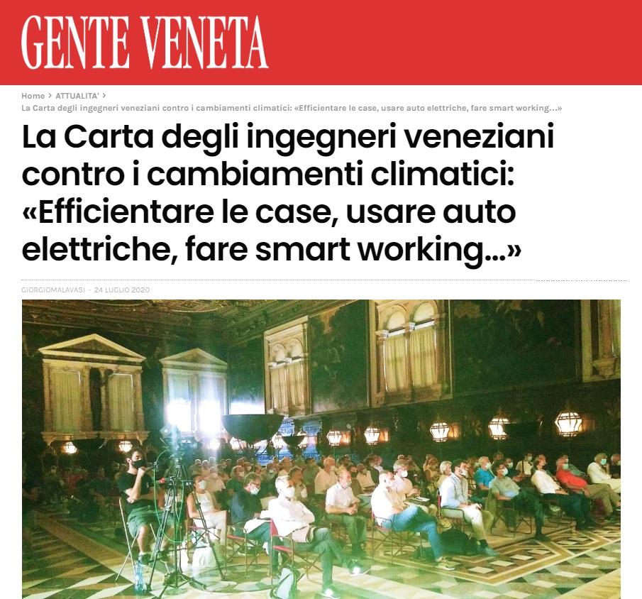 Gente Veneta 2020 - Carta di Venezia Climate Change - Ingegneri Venezia cambiamenti climatici