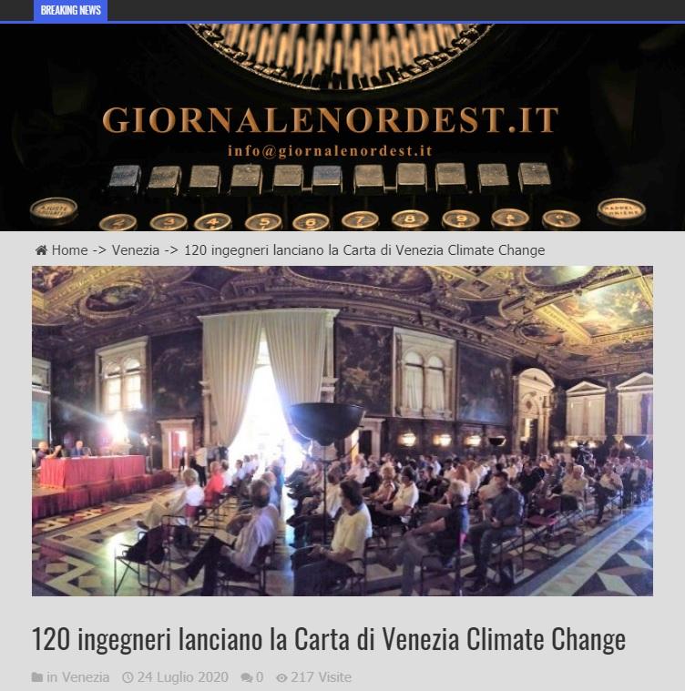 Giornale Nord Est 2020 - Carta di Venezia Climate Change - Ingegneri Venezia cambiamenti climatici