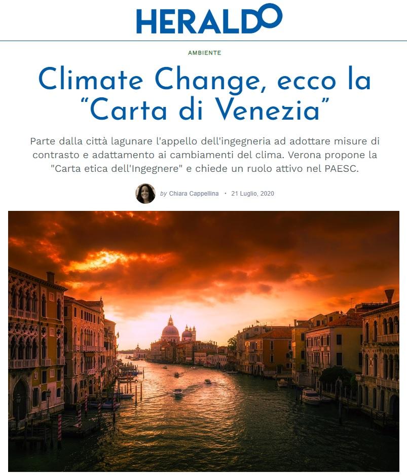HERALDO VERONA 2020 - Carta di Venezia Climate Change - Ingegneri Venezia cambiamenti climatici