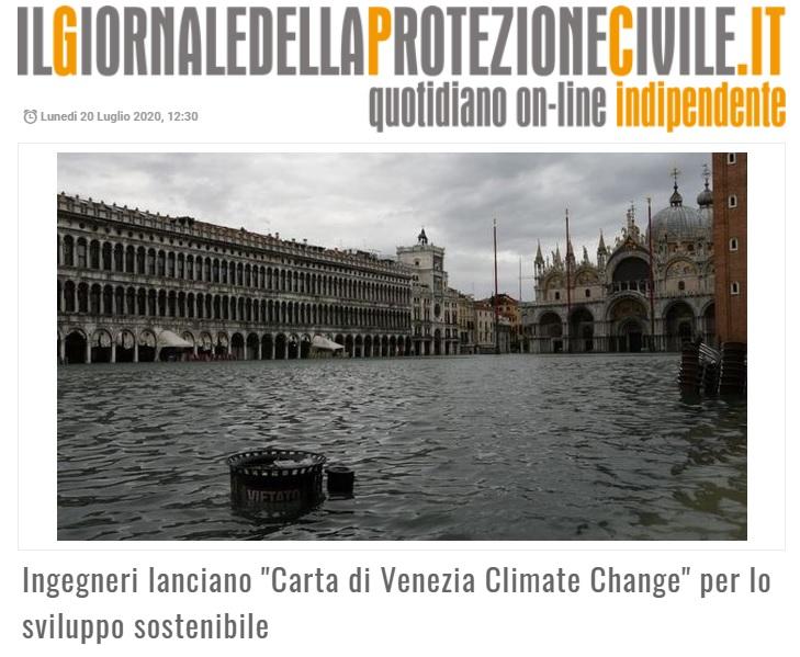 IL GIORNALE DELLA PROTEZIONE CIVILE 2020 - Carta di Venezia Climate Change - Ingegneri Venezia cambiamenti climatici
