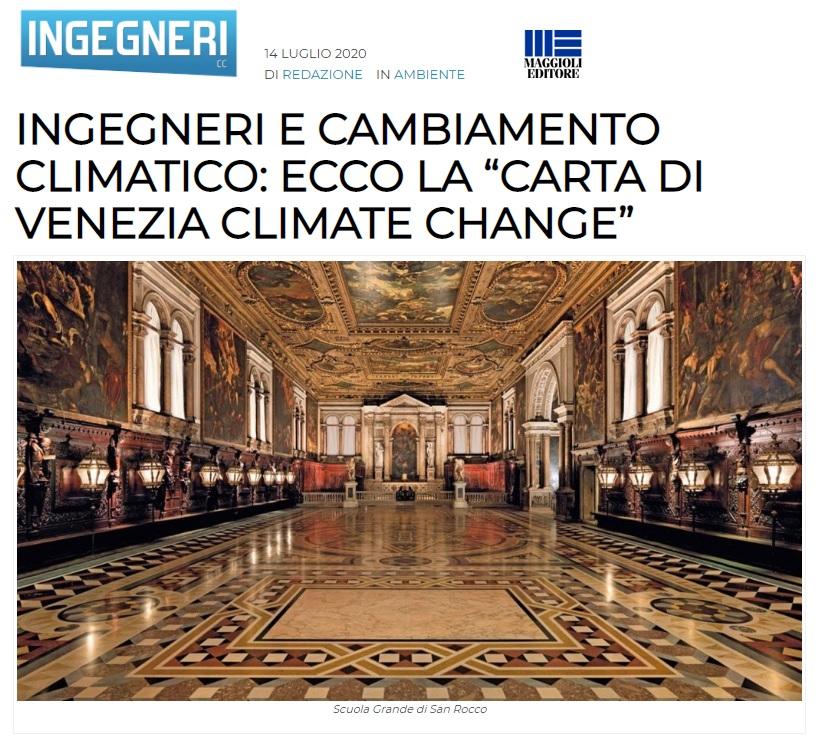 INGEGNERI CC MAGGIOLI EDITORE 2020 - Carta di Venezia Climate Change - Ingegneri Venezia cambiamenti climatici
