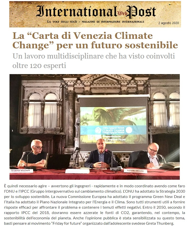 INTERNATIONAL WEB POST 2.8.2020 - Carta di Venezia Climate Change - Ingegneri Venezia cambiamenti climatici
