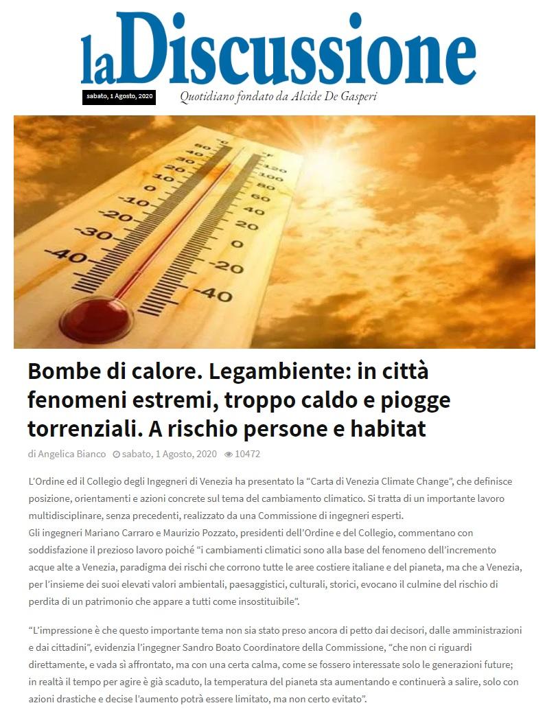 LA DISCUSSIONE Angelina Bianco 1 agosto 2020 - Carta di Venezia Climate Change - Ingegneri Venezia cambiamenti climatici