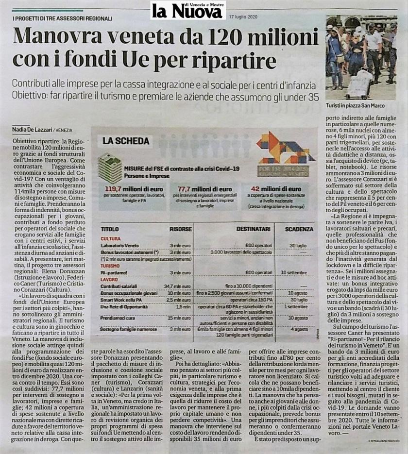 La Nuova GEDI articolo Regione Veneto Bandi fondi ripartenza 2020 - Ordine Ingegneri Venezia - Il Veneto che cresce