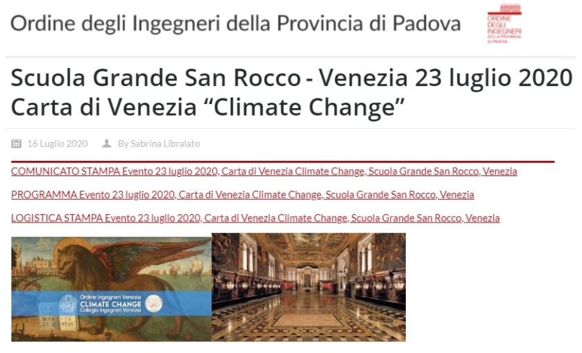 ORDINE INGEGNERI PADOVA 2020 - Carta di Venezia Climate Change - Ingegneri Venezia cambiamenti climatici