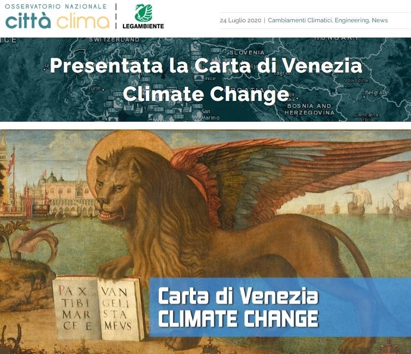 OSSERVATORIO NAZIONALE CITTÀ CLIMA - LEGAMBIENTE 2020 - Carta di Venezia Climate Change - Ingegneri Venezia cambiamenti climatici