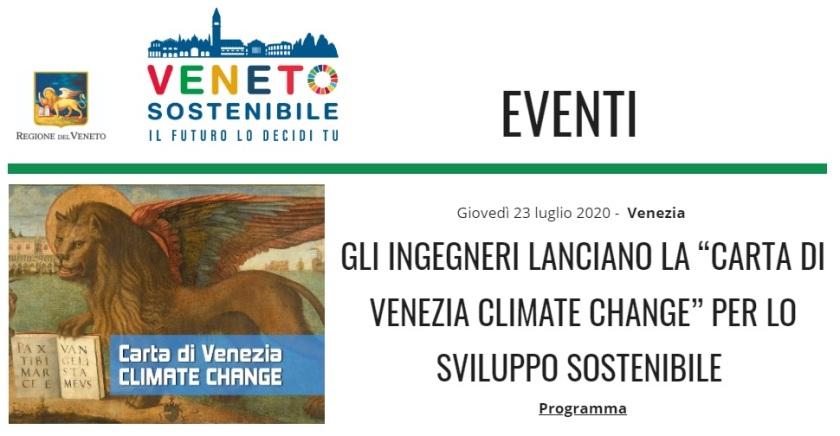 VENETO SOSTENIBILE 2020 - Carta di Venezia Climate Change - Ingegneri Venezia cambiamenti climatici