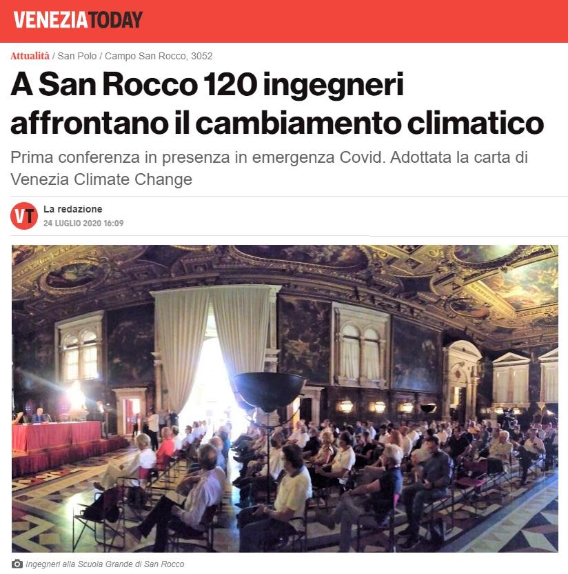 Venezia Today 2020 - Carta di Venezia Climate Change - Ingegneri Venezia cambiamenti climatici