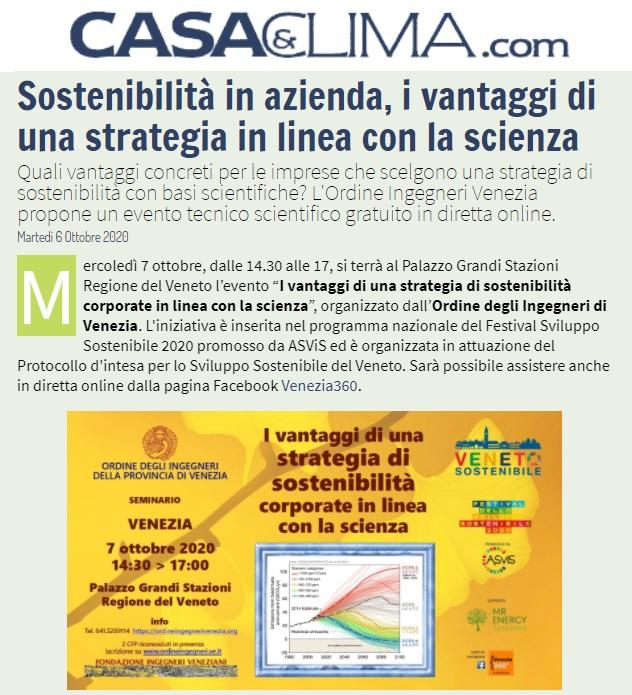 Casa e clima articolo 6 ottobre 2020 - Ordine Ingegneri Venezia - sviluppo sostenibile mr enery sistem roglieri carraro boato regione veneto pelloso
