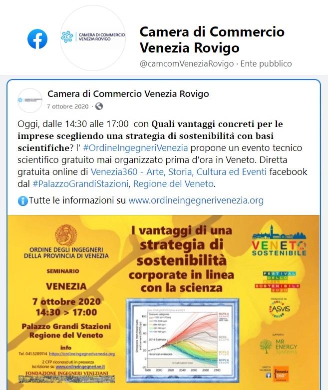 CCIAA Venezia Rovigo - Ordine Ingegneri Venezia - sviluppo sostenibile 2020