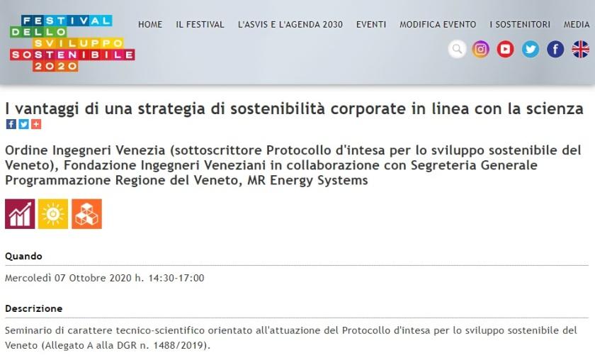 Festival Sviluppo Sostenibile 2020 - Ordine Ingegneri Venezia - Regione del Veneto 7 ottobre 2020