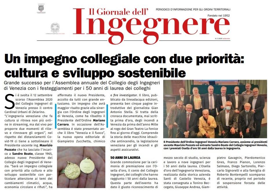 giornale dell'ingegnere settembre 2020 ing. mariano carraro assemblea collegio ingegneri venezia