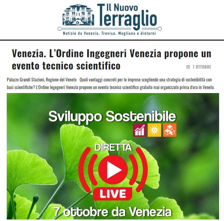 il nuovo terraglio ordine ingegneri venezia sviluppo sostenibile 7 ottobre 2020
