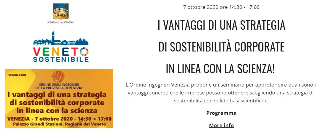 Veneto Sostenibile Regione - Ordine Ingegneri Venezia - sviluppo sostenibile 2020