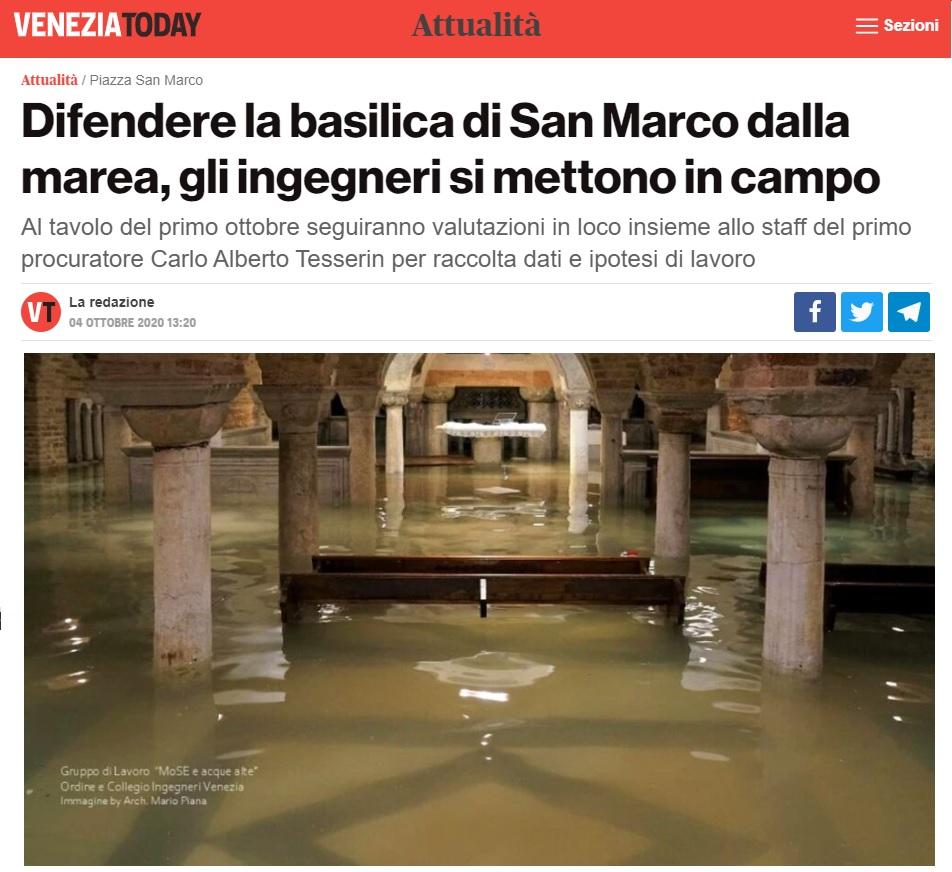 Venezia Today 4 ottobre 2020 Basilica San Marco - Ordine Ingegneri Venezia MoSE